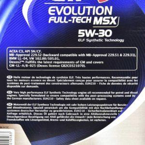 ELF EVOLUTION FULLTECH MSX 5W30 5L